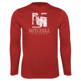 Performance Red Longsleeve Shirt-Mitchell College Vertical Distressed