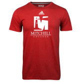 Adidas Climalite Red Ultimate Performance Tee-Mitchell College Vertical Logo