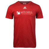 Adidas Climalite Red Ultimate Performance Tee-Mitchell College Horizontal Logo
