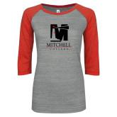 ENZA Ladies Athletic Heather/Red Vintage Baseball Tee-Mitchell College Vertical Logo