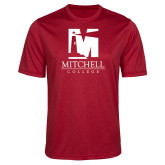 Performance Red Heather Contender Tee-Mitchell College Vertical Logo