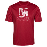 Performance Red Heather Contender Tee-Mitchell College Vertical Distressed