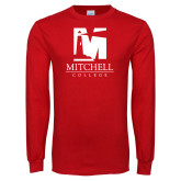 Red Long Sleeve T Shirt-Mitchell College Vertical Logo