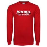 Red Long Sleeve T Shirt-Mitchell Mariners Wordmark