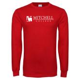 Red Long Sleeve T Shirt-Mitchell College Horizontal Logo