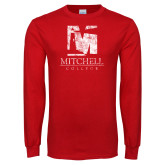 Red Long Sleeve T Shirt-Mitchell College Vertical Distressed