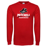Red Long Sleeve T Shirt-Mitchell Mariners Stacked