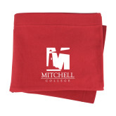 Red Sweatshirt Blanket-Mitchell College Vertical Logo