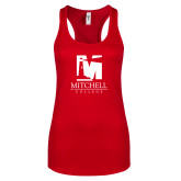 Next Level Ladies Red Ideal Racerback Tank-Mitchell College Vertical Logo