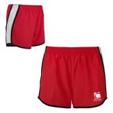 Ladies Red/White Team Short-Mitchell College Vertical Logo