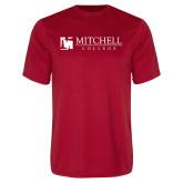 Performance Red Tee-Mitchell College Horizontal Logo