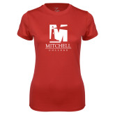Ladies Syntrel Performance Red Tee-Mitchell College Vertical Logo