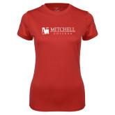 Ladies Syntrel Performance Red Tee-Mitchell College Horizontal Logo