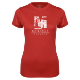 Ladies Syntrel Performance Red Tee-Mitchell College Vertical Distressed