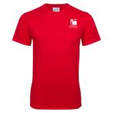 Red T Shirt w/Pocket-Mitchell College Vertical Logo