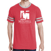 Red Heather/Grey Tri Blend Varsity Tee-Mitchell College Vertical Logo