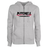 ENZA Ladies Grey Fleece Full Zip Hoodie-Mitchell Mariners Wordmark