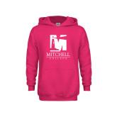 Youth Raspberry Fleece Hoodie-Mitchell College Vertical Logo