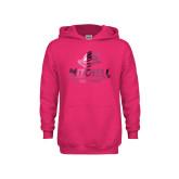 Youth Raspberry Fleece Hoodie-Primary Athletics Mark Foil