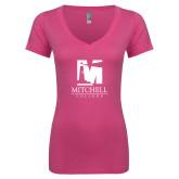 Next Level Ladies Junior Fit Ideal V Pink Tee-Mitchell College Vertical Logo