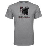 Grey T Shirt-Mitchell College Vertical Distressed