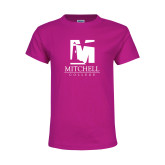 Youth Cyber Pink T Shirt-Mitchell College Vertical Logo