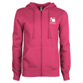 ENZA Ladies Fuchsia Fleece Full Zip Hoodie-Mitchell College Vertical Logo