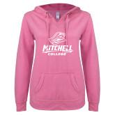 ENZA Ladies Hot Pink V Notch Raw Edge Fleece Hoodie-Primary Athletics Mark