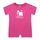 Bubble Gum Pink Infant Romper-Mitchell College Vertical Logo