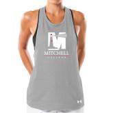 Ladies Under Armour Grey Pinhole Tank-Mitchell College Vertical Logo