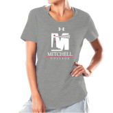 Ladies Under Armour Grey Charged Cotton Tee-Mitchell College Vertical Logo