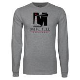 Grey Long Sleeve T Shirt-Mitchell College Vertical Logo