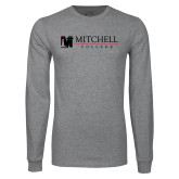 Grey Long Sleeve T Shirt-Mitchell College Horizontal Logo