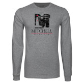 Grey Long Sleeve T Shirt-Mitchell College Vertical Distressed