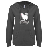 ENZA Ladies Dark Heather V Notch Raw Edge Fleece Hoodie-Mitchell College Vertical Logo