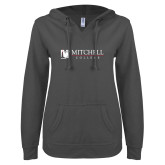ENZA Ladies Dark Heather V Notch Raw Edge Fleece Hoodie-Mitchell College Horizontal Logo