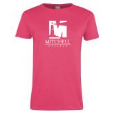 Ladies Fuchsia T Shirt-Mitchell College Vertical Logo