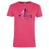 Ladies Fuchsia T Shirt-Primary Athletics Mark Foil