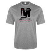 Performance Grey Heather Contender Tee-Mitchell College Vertical Logo
