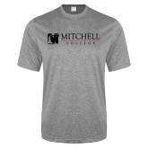 Performance Grey Heather Contender Tee-Mitchell College Horizontal Logo