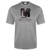 Performance Grey Heather Contender Tee-Mitchell College Vertical Distressed