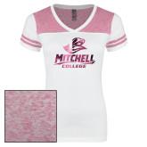 Ladies White/Heathered Pink Juniors Varsity V Neck Tee-Primary Athletics Mark Foil