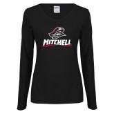 Ladies Black Long Sleeve V Neck Tee-Mitchell W Mariner