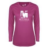 Ladies Syntrel Performance Raspberry Longsleeve Shirt-Mitchell College Vertical Logo