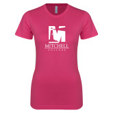 Next Level Ladies SoftStyle Junior Fitted Fuchsia Tee-Mitchell College Vertical Logo