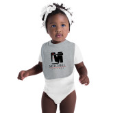 Grey Baby Bib-Mitchell College Vertical Logo