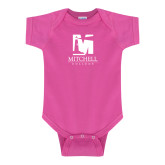 Fuchsia Infant Onesie-Mitchell College Vertical Logo