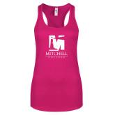 Next Level Ladies Raspberry Ideal Racerback Tank-Mitchell College Vertical Logo