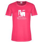Ladies Performance Hot Pink Tee-Mitchell College Vertical Logo