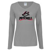 Ladies Grey Long Sleeve V Neck Tee-Mitchell W Mariner